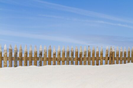 beautiful wooden fence in a sand dune