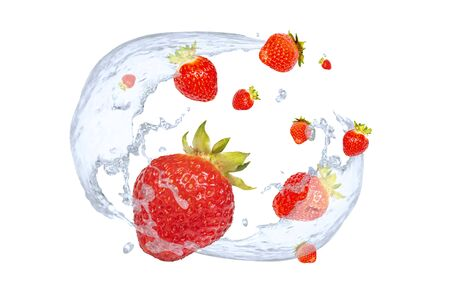 fresh strawberries and splashes of cold water