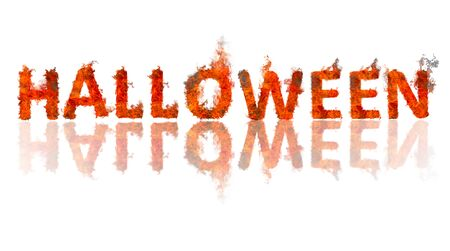 burning word halloween on a white background with reflection , international holiday, all saints day Stock Photo