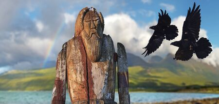 Odin made of wood and two horns of Huginn and Munin in flight, Norse mythology Фото со стока - 134871606