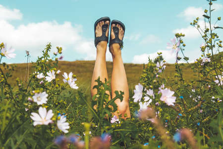 beautiful legs of a girl raised up from a meadow of flowers Standard-Bild - 157082597