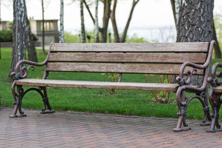 bench in the park on a spring morning Reklamní fotografie