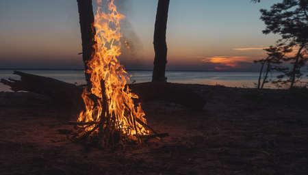 evening bonfire by the river
