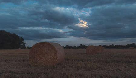 haystack on a moonlit night