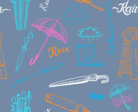 rainy day seamless vector pattern