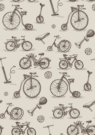 retro bicycles seamless vector pattern Illustration