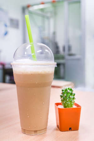 thirst quenching: iced frappucino thirst quenching drinking in afternoon
