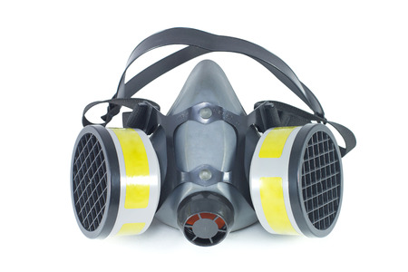 dust mask: Chemical protective mask isolated image