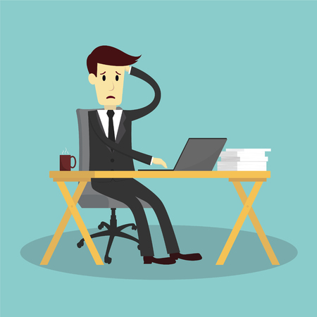 young businessman: businessman stressed and exhausted, vector illustration