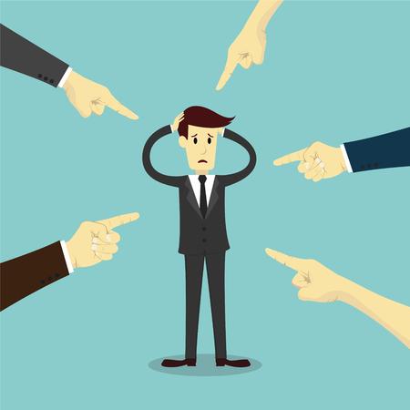 personas enojadas: Manos que apunta a culpar a hombre de negocios, ilustración vectorial de negocios