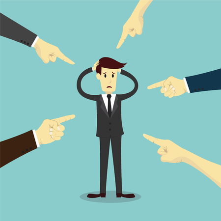 Hands pointing to blame businessman, business vector illustration Illustration