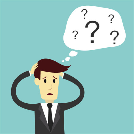 person thinking: Businessman confuse of thinking and manage, business vector illustration