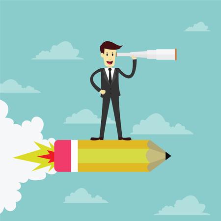 and future vision: El hombre de negocios de pie en el lápiz de cohetes usando binoculares en busca de oportunidad de negocio, el concepto de la visión, ilustración vectorial
