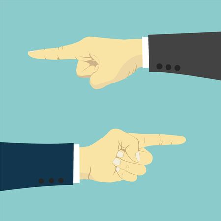 finger pointing up: Hands with finger pointing left and right, business vector illustration