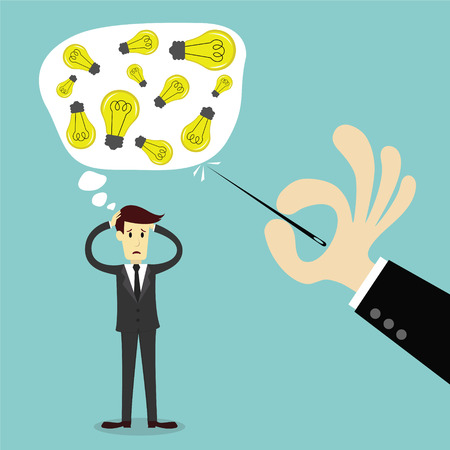 problem solution: Businessman thinking to get an idea and Hand stab a thinking bubble, business vector illustration