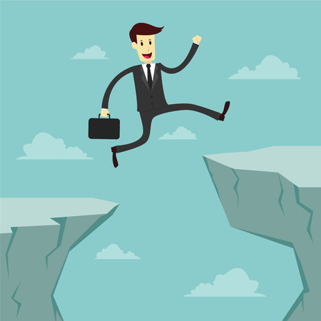 across: Businessman Jumping across the chasm, business vector illustration Illustration