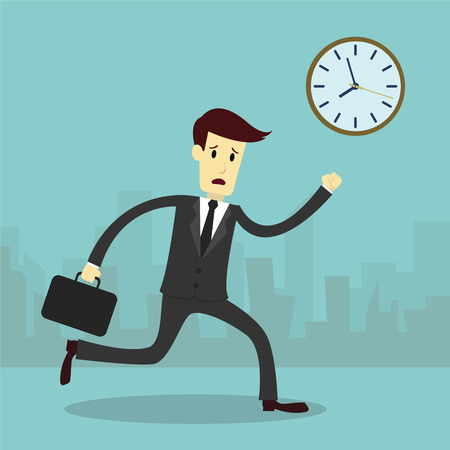 hurry up: Businessman running and hurry up, business vector illustration