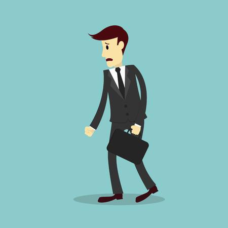 disheartened: Businessman discouraged, feeling fail, vector illustration