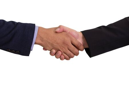 Businessman shaking hands to make business dealing, isolated on white background