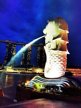 hope: Merlion at marina bay sand, singapore Stock Photo