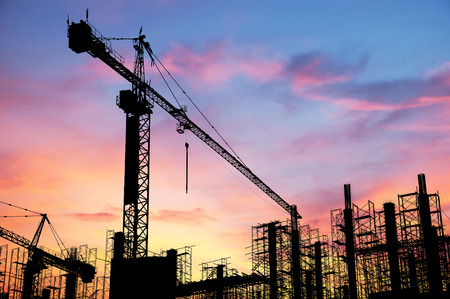 construction sites: Construction site on sunset background