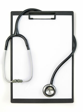 directive: Stethoscope on empty clipboard isolated on white background Stock Photo
