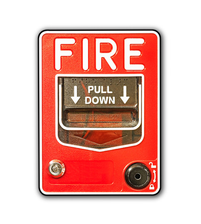 fire alarm box on white background photo