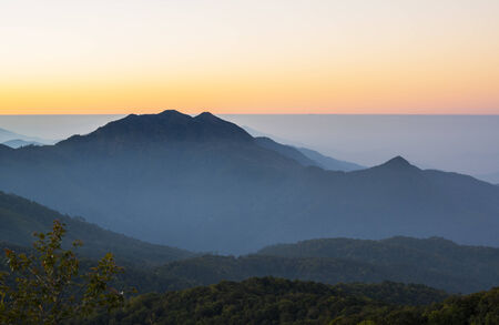 highlands region:  Mountain ranges at sunrise ,Doi Inthanon National Park, Chiang Mai,Thailand