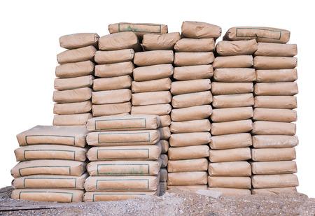 Pila de Cemento en sacos, prolijamente apiladas para un proyecto de construcción Foto de archivo