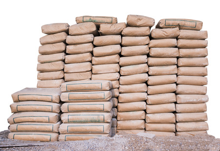 Pile of Cement in bags,neatly stacked for a construction project  photo
