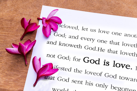 God is love. 1john 4:8, Holy Bible Stock Photo