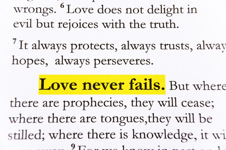fails: Love never fail on Holy bible.