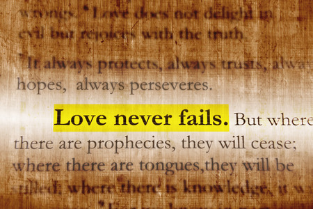 Love never fails on Holy bible. Stock Photo - 28635723