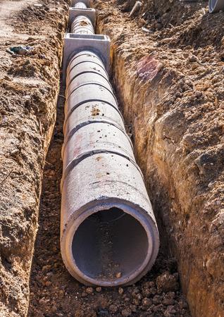 Concrete drainage tank on construction site Stock Photo - 28991959