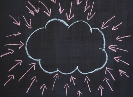 centralize: Blank cloud shape on blackboard with many arrows pointing in it. Stock Photo