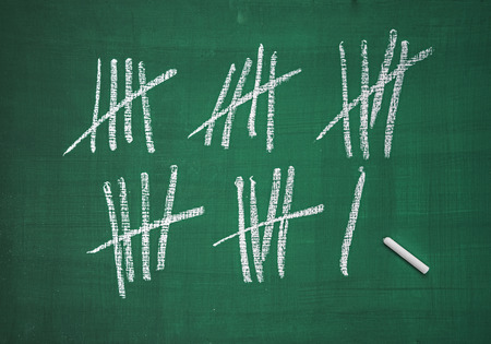 Counting list on a blackboard  Stock Photo