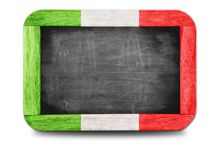 Italy flag soccer 2014 framed of Small chalkboard Stock Photo - 29642473