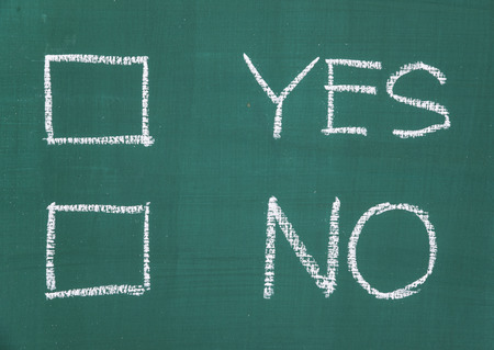 yes no: Yes or No, two choices written on the blackboard