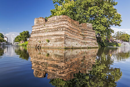 moat wall: Historical fortress and ancient wall in chiang mai, landmark of Thailand  700 years old   Stock Photo