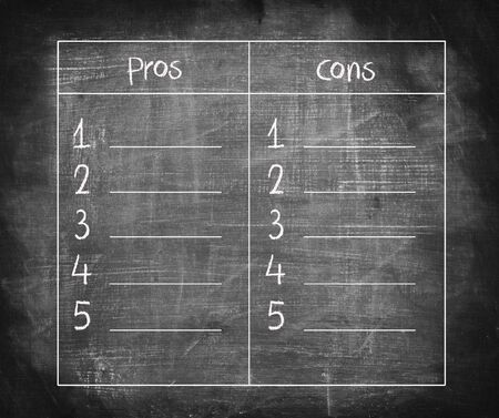 cons: List of pros and cons on blackboard, for argument concept