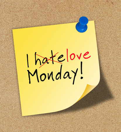 I love monday pinned to a cork notice board Stock Photo - 30614913