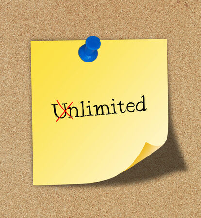 disallow: Changing word Unlimited into Limited Stock Photo