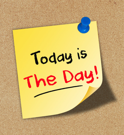 Today is The Day Concept on cork board Foto de archivo