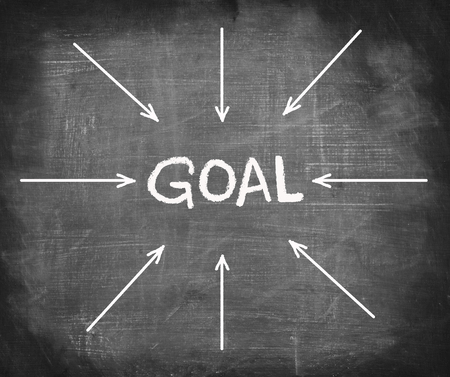 intend: Arrows gathering over GOAL on chalkboard  Stock Photo