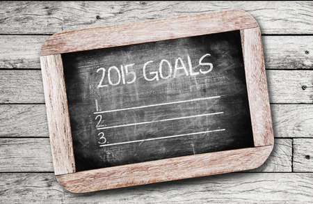 new years resolution: 2015 Goals ,writing on chalkboard Stock Photo