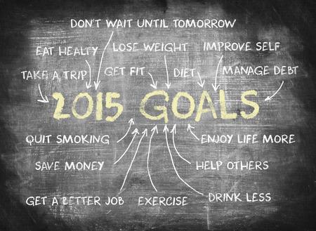 2015 Goals ,writing on chalkboard photo