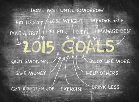 achieved: 2015 Goals ,writing on chalkboard Stock Photo