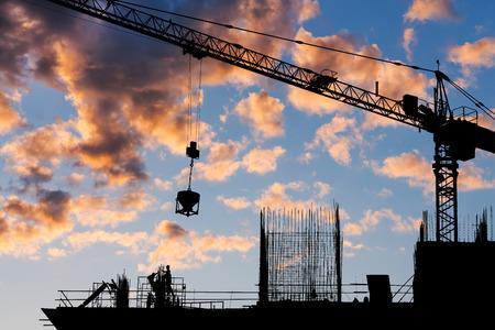 Construction site silhouette  Banco de Imagens