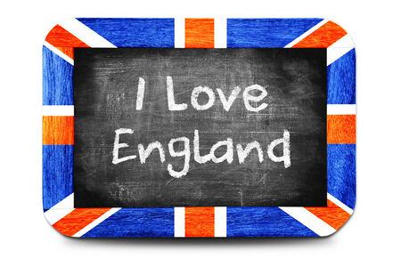 I Love England, chalk-written on a chalkboard.  photo