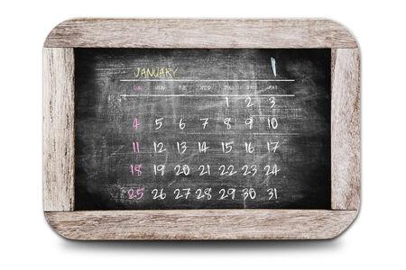 January 2015 - Calendar on chalk board Stock Photo